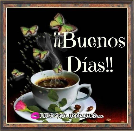 Tarjeta De Buenos Dias Con Cafe Y Dulces
