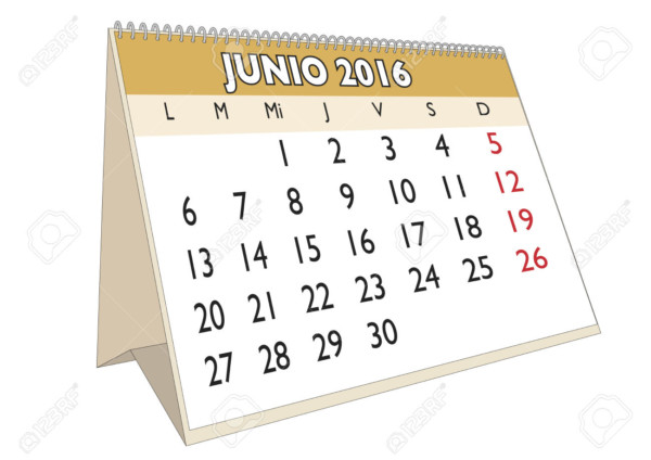 June month in a year 2016 calendar in spanish. Junio 2016. Calendario 2016