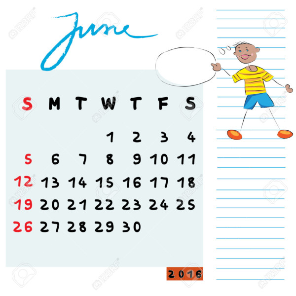 Hand drawn design of June 2016 calendar with kid illustration, the communicator student profile for international schools