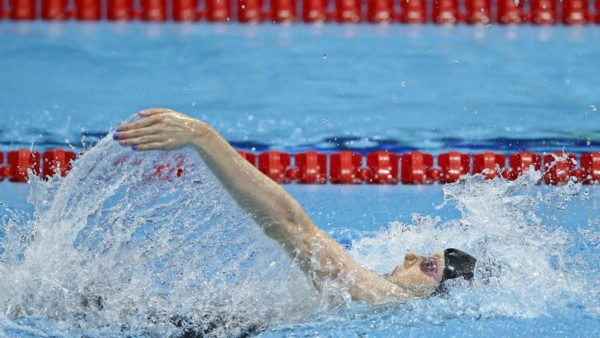 United States' Missy Franklin in the women's 200-meter backstroke final at the Aquatics Centre in the Olympic Park during the 2012 Summer Olympics, London, Friday, Aug. 3, 2012. (AP Photo/Jae C. Hong)